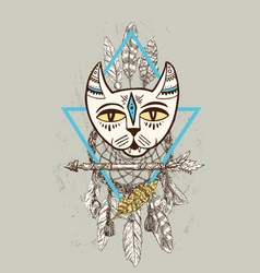 Hand drawn head cat boho vector