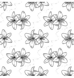 hand drawn lily seamless pattern vector image