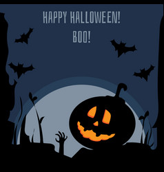 happy halloween dark postcard vector image