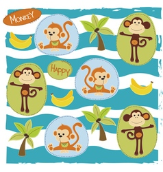 Happy monkey on the safari vector image