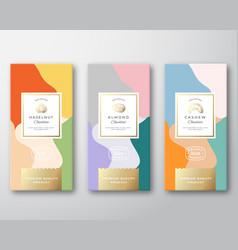 hazelnut cashew and almond chocolate labels set vector image