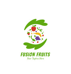 Healthy smoothies juice fusion fruits logo icon vector