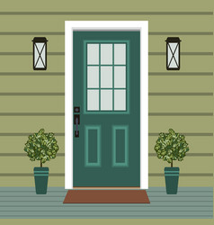house door front with doorstep and mat window vector image