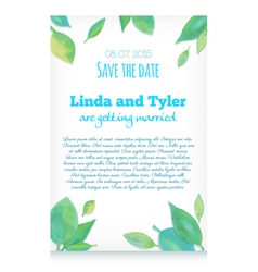 Invitation card with green hand drawn watercolor l vector image
