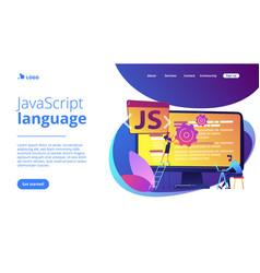 javascript concept landing page vector image