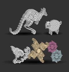 Kangaroo Sheep Snail Floral Decorations vector