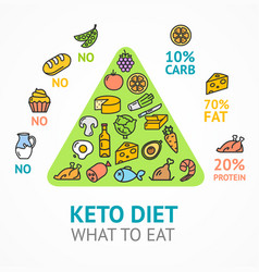 keto diet concept card poster ad with thin line vector image