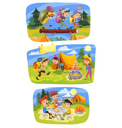 kids summer camping concept vector image