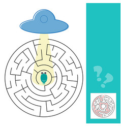 labyrinth maze game with solution help alien to vector image