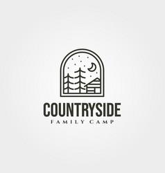 Line art cottage house icon logo design cabin vector