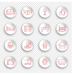 linear furniture icons on round stickers with vector image