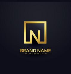 logo design for letter n in golden vector image