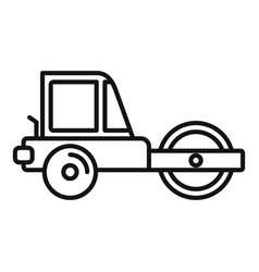 machine road roller icon outline style vector image