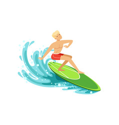 male surfer riding a wave water extreme sport vector image