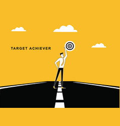 Man on road with target dart board vector