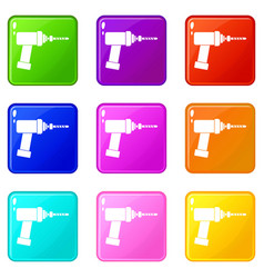 Medical drill icons 9 set vector
