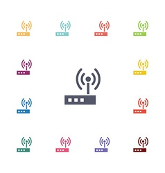 Modem flat icons set vector