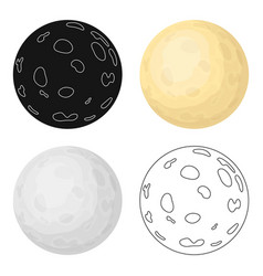 Moon icon in cartoon style isolated on white vector