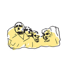 mount rushmore hand drawn icon vector image