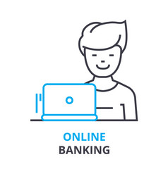 online banking concept outline icon linear sign vector image