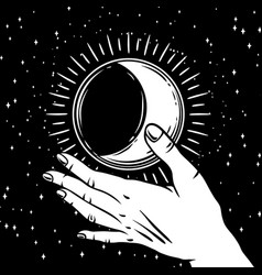open hand with vintage moon vector image
