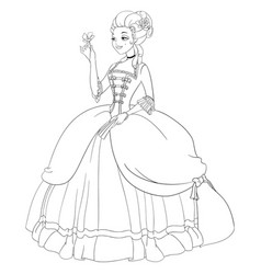 outlined rococo lady in antique dress coloring vector image