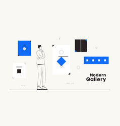 Person modern art gallery works conceptual vector