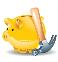 Piggy bank and hammer vector