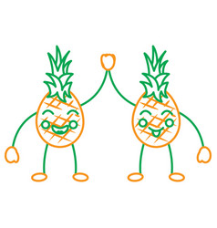 Pinapples high five happy fruit kawaii icon image vector