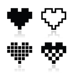 Pixel heart icons set - love dating online vector