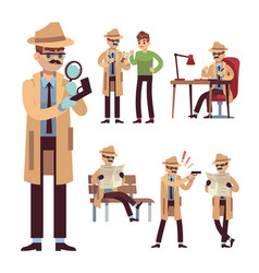 Police detective set inspector or investigator in vector