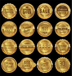 quality retro golden badges collection vector image
