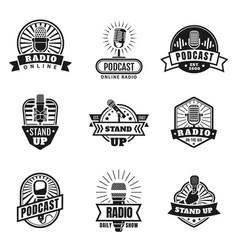 radio emblems podcast broadcast and studio vector image