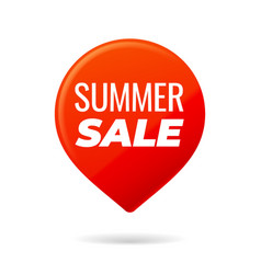 Red pin on white background summer sale vector