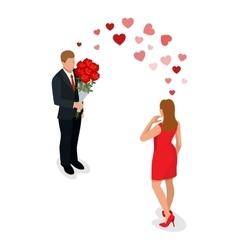 Romantic couple in love meeting love vector
