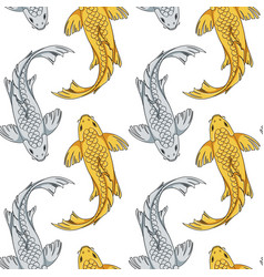 seamless pattern with koi fish carps vector image