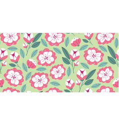 Seamless pattern with spring flowers in bloom vector