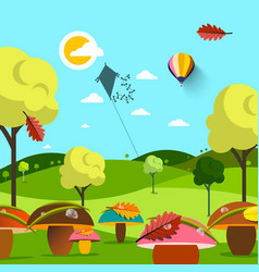 september autumn landscape field with mushrooms vector image