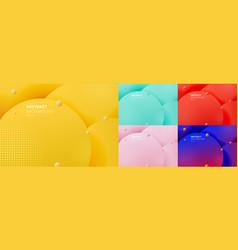 set abstract 3d liquid fluid circles yellow vector image