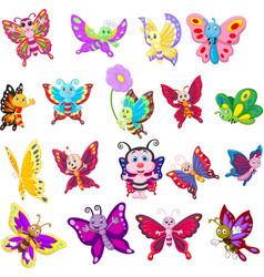 Set cartoon butterflies on white background vector