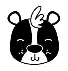 Silhouette tender bear head wild animal vector
