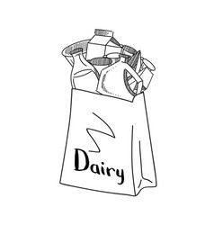 Sketched dairy products gathered in paper vector