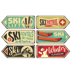 ski and winter holiday retro signs collection vector image