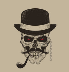 Skull-gentleman dressed in hat smoking cigar vector