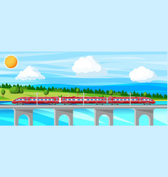 skytrain and landscape with cityscape vector image