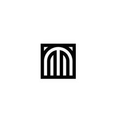 square stripes logo letter m vector image