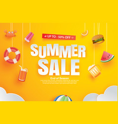 summer sale with decoration origami on yellow vector image