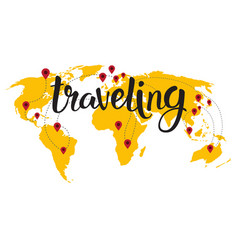 Traveling lettering over world map background hand vector