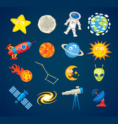 Trendy astronomy icons funny cartoon character vector