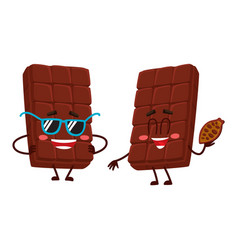 two chocolate bar characters in sunglasses and vector image vector image